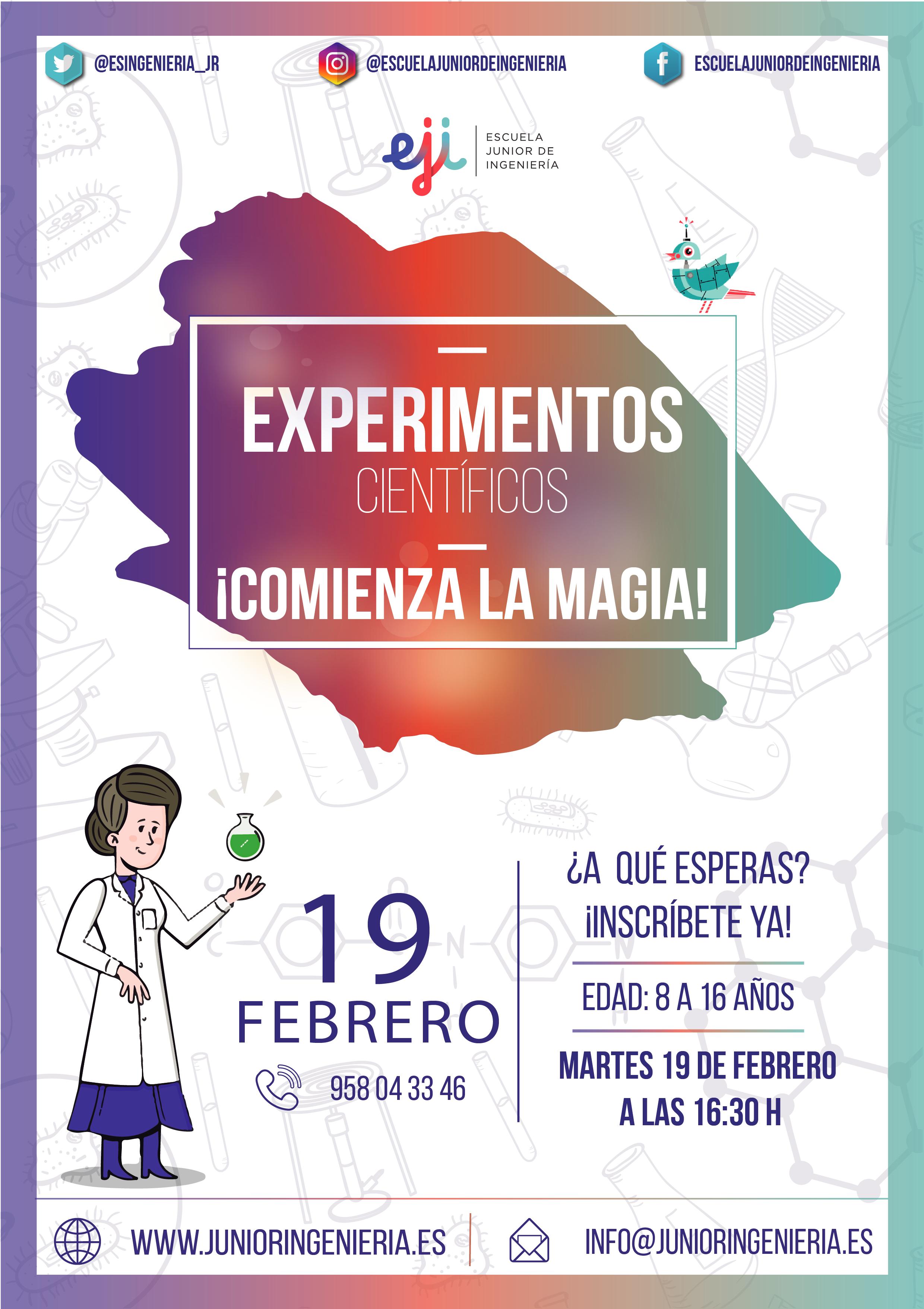 Taller experimentos científicos para niños Granada